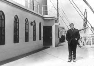 Author Jacques Futrelle on boat deck, April 11, 1912