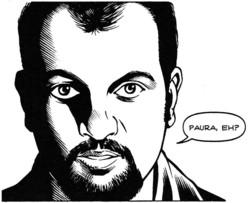 Cornelio che cita la frase del comico Fabio De Luigi, imitatore di Lucarelli