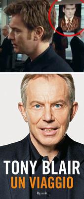 In alto, scorcio della copertina delle Memorie di Adam Lang; in basso, la copertina dell'ultimo libro di Tony Blair