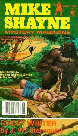 Copertina del numero di maggio 1983 del Mike Shayne Mystery Magazine, con in basso il particolare del titolo in questione