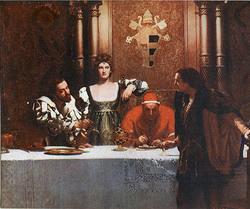 """""""Un bicchiere di vino con Cesare Borgia"""" di John Collier"""