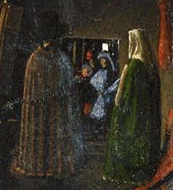 Particolare dello specchio con visibile il pittore in persona
