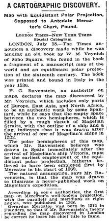 Trafiletto del New York Times del 1921