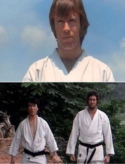 """I tre """"cattivi"""" del film: Chuck Norris, Whang In-Sik e Bob Wall"""